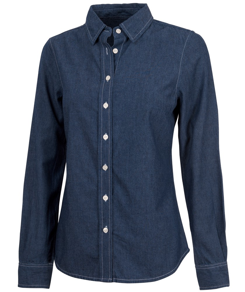 Women's Straight Collar Chambray Shirt