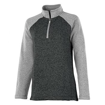 Women's Quarter Zip Color Blocked Heathered Fleece